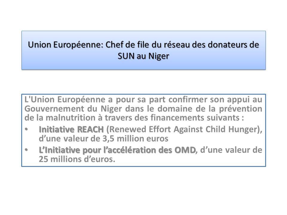 L Union Européenne a pour sa part confirmer son appui au Gouvernement du Niger dans le domaine de la prévention de la malnutrition à travers des financements suivants : Initiative REACH Initiative REACH (Renewed Effort Against Child Hunger), dune valeur de 3,5 million euros LInitiative pour laccélération des OMD LInitiative pour laccélération des OMD, dune valeur de 25 millions deuros.