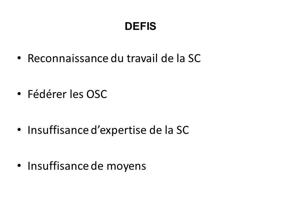 DEFIS Reconnaissance du travail de la SC Fédérer les OSC Insuffisance dexpertise de la SC Insuffisance de moyens