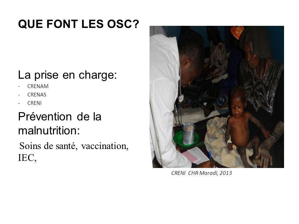 QUE FONT LES OSC? La prise en charge: -CRENAM -CRENAS -CRENI Prévention de la malnutrition: Soins de santé, vaccination, IEC, CRENI CHR Maradi, 2013
