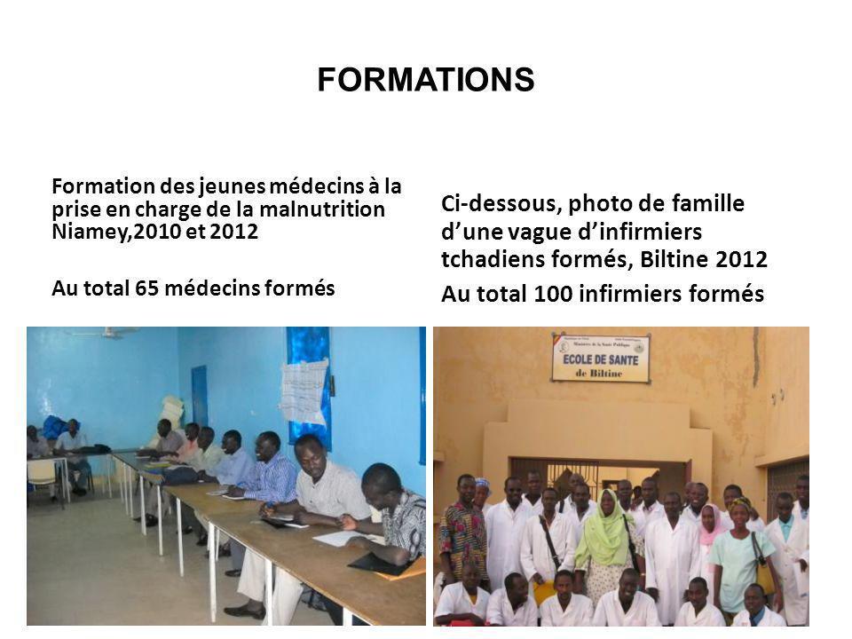FORMATIONS Formation des jeunes médecins à la prise en charge de la malnutrition Niamey,2010 et 2012 Au total 65 médecins formés Ci-dessous, photo de