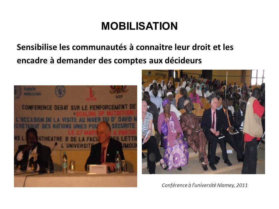 MOBILISATION Sensibilise les communautés à connaitre leur droit et les encadre à demander des comptes aux décideurs Conférence à luniversité Niamey, 2