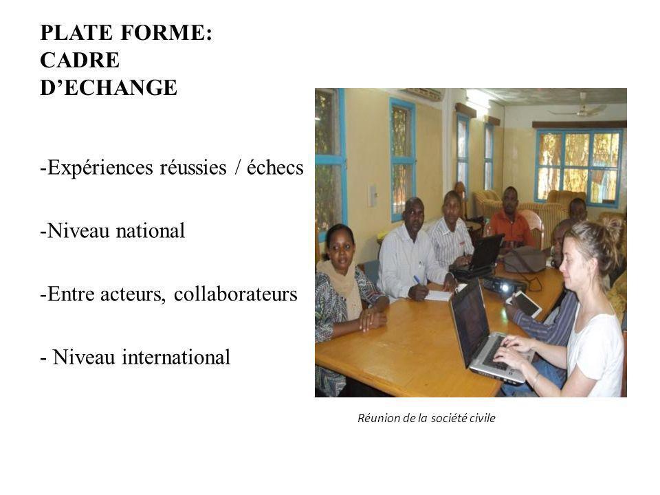 PLATE FORME: CADRE DECHANGE -Expériences réussies / échecs -Niveau national -Entre acteurs, collaborateurs - Niveau international Réunion de la sociét