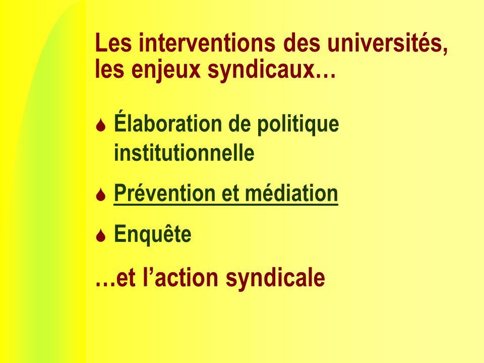 Les interventions des universités, les enjeux syndicaux… Élaboration de politique institutionnelle Prévention et médiation Enquête …et laction syndicale