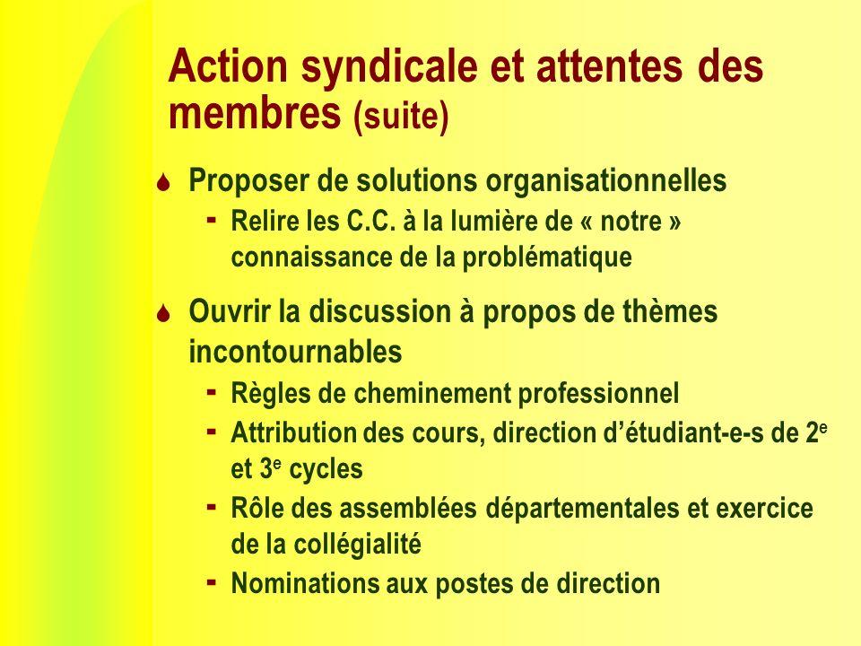 Action syndicale et attentes des membres (suite) Proposer de solutions organisationnelles Relire les C.C.