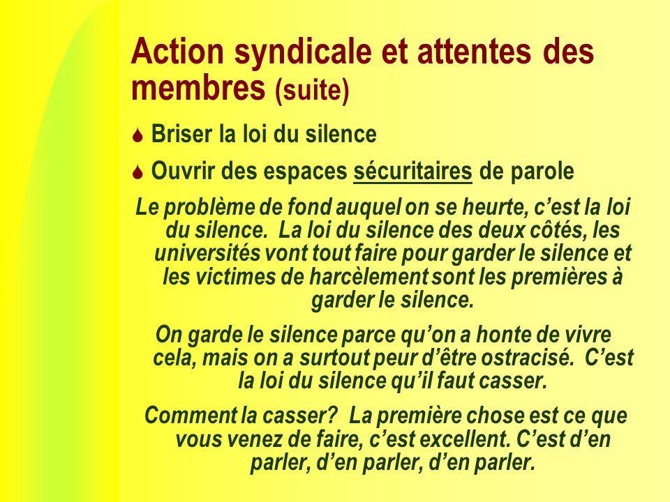 Action syndicale et attentes des membres (suite) Briser la loi du silence Ouvrir des espaces sécuritaires de parole Le problème de fond auquel on se heurte, cest la loi du silence.