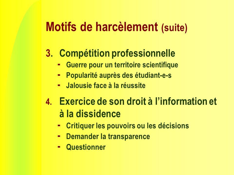 Motifs de harcèlement (suite) 3.Compétition professionnelle Guerre pour un territoire scientifique Popularité auprès des étudiant-e-s Jalousie face à la réussite 4.