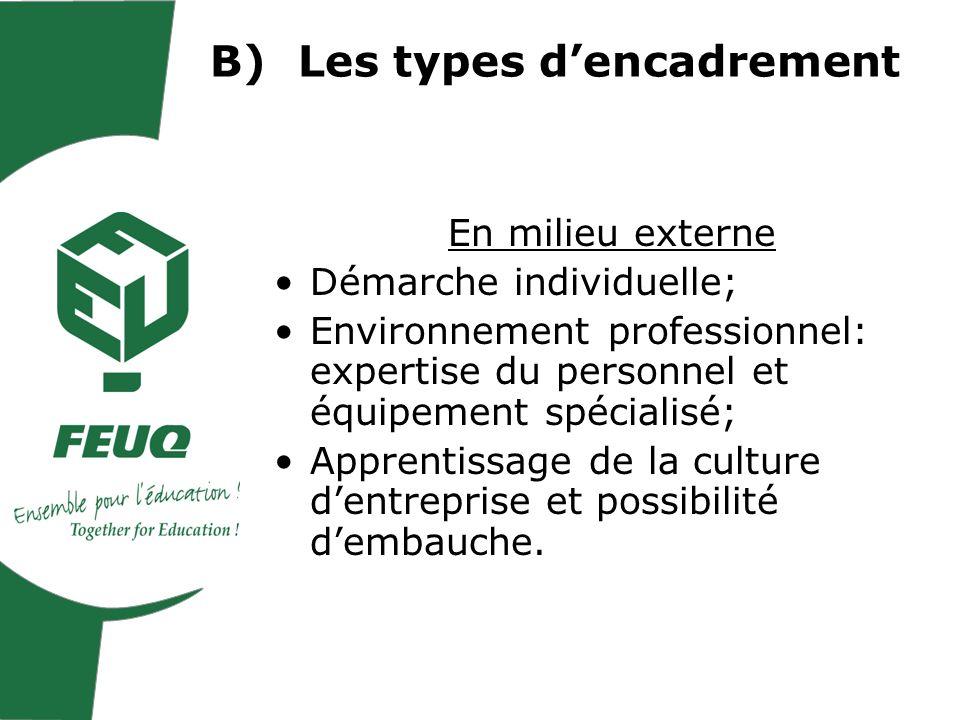 B)Les types dencadrement En milieu externe Démarche individuelle; Environnement professionnel: expertise du personnel et équipement spécialisé; Apprentissage de la culture dentreprise et possibilité dembauche.