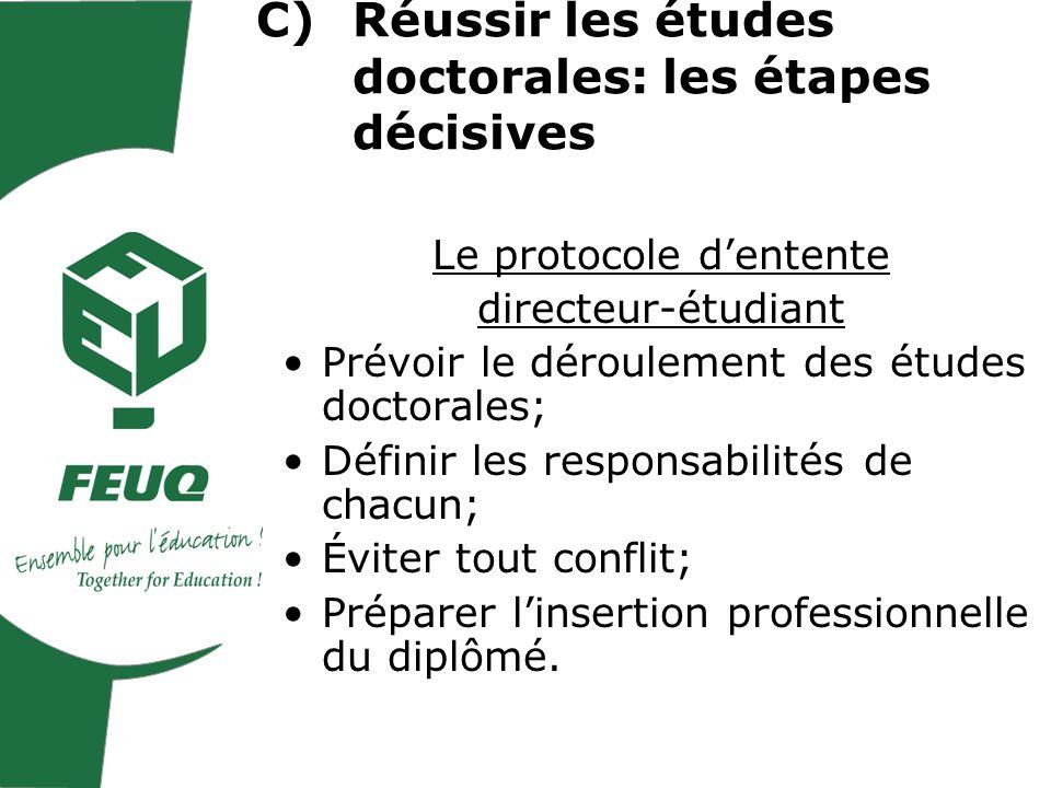 Le protocole dentente directeur-étudiant Prévoir le déroulement des études doctorales; Définir les responsabilités de chacun; Éviter tout conflit; Préparer linsertion professionnelle du diplômé.