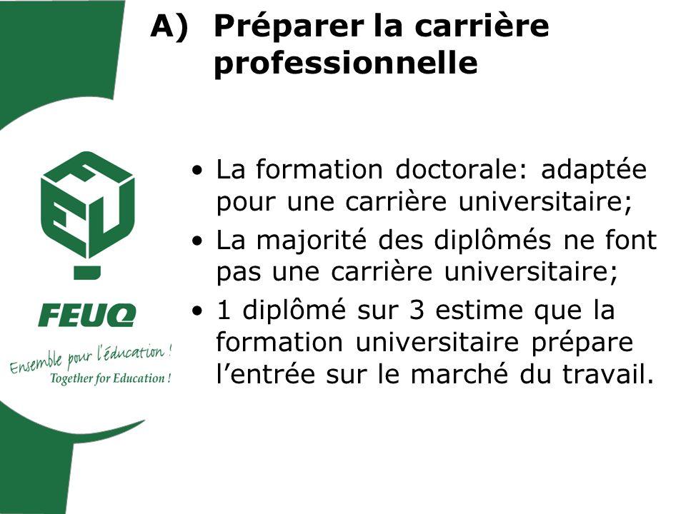 La formation doctorale: adaptée pour une carrière universitaire; La majorité des diplômés ne font pas une carrière universitaire; 1 diplômé sur 3 estime que la formation universitaire prépare lentrée sur le marché du travail.