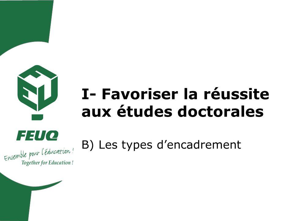 I- Favoriser la réussite aux études doctorales B) Les types dencadrement