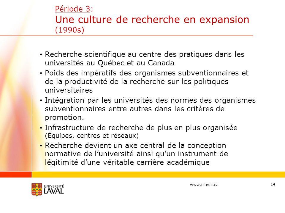 www.ulaval.ca 14 Période 3: Une culture de recherche en expansion (1990s) Recherche scientifique au centre des pratiques dans les universités au Québe