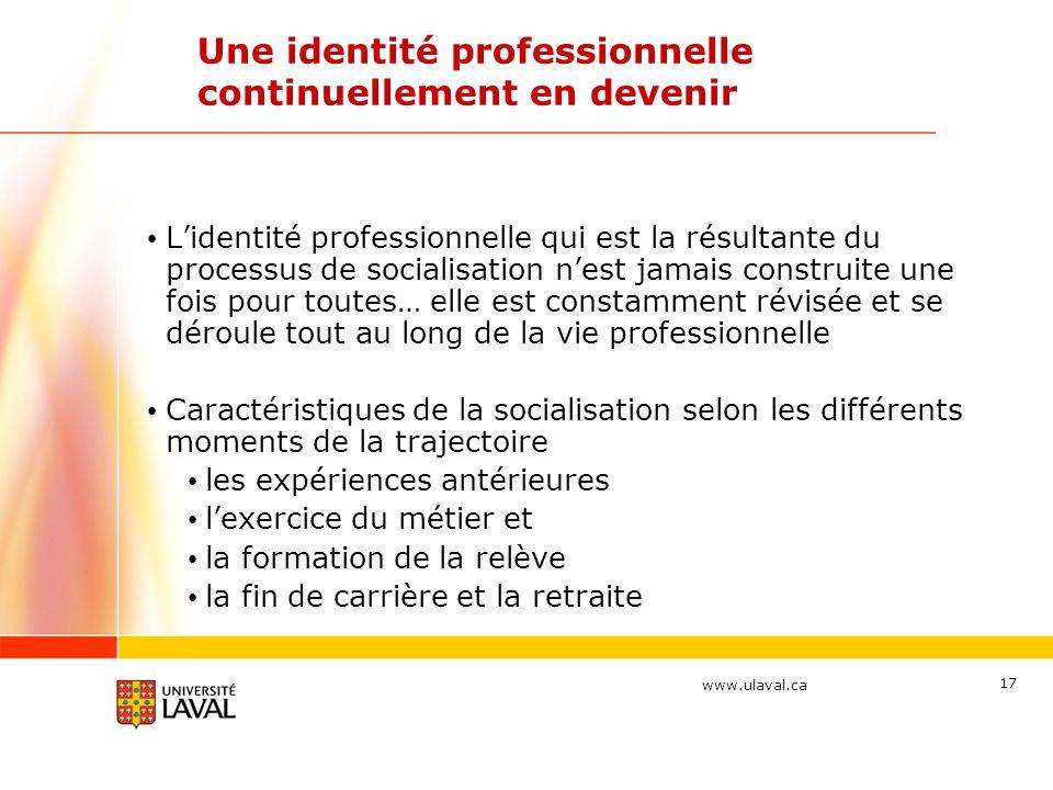 www.ulaval.ca 17 Une identité professionnelle continuellement en devenir Lidentité professionnelle qui est la résultante du processus de socialisation