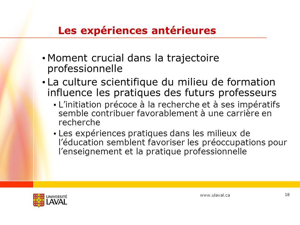 www.ulaval.ca 18 Les expériences antérieures Moment crucial dans la trajectoire professionnelle La culture scientifique du milieu de formation influen