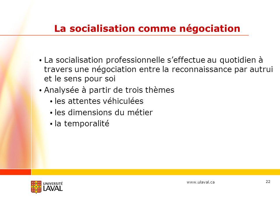 www.ulaval.ca 22 La socialisation comme négociation La socialisation professionnelle seffectue au quotidien à travers une négociation entre la reconna