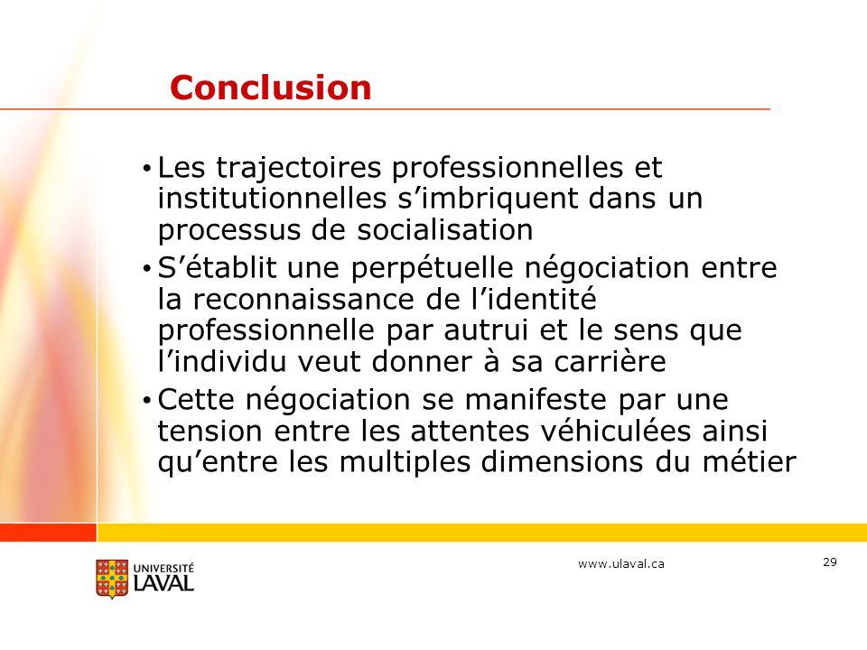 www.ulaval.ca 29 Conclusion Les trajectoires professionnelles et institutionnelles simbriquent dans un processus de socialisation Sétablit une perpétu