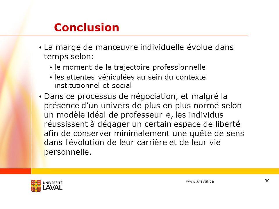 www.ulaval.ca 30 Conclusion La marge de manœuvre individuelle évolue dans temps selon: le moment de la trajectoire professionnelle les attentes véhicu