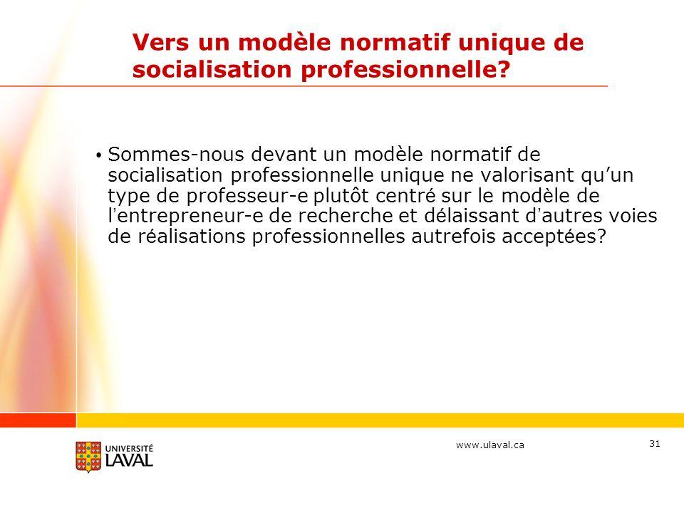 www.ulaval.ca 31 Vers un modèle normatif unique de socialisation professionnelle? Sommes-nous devant un modèle normatif de socialisation professionnel
