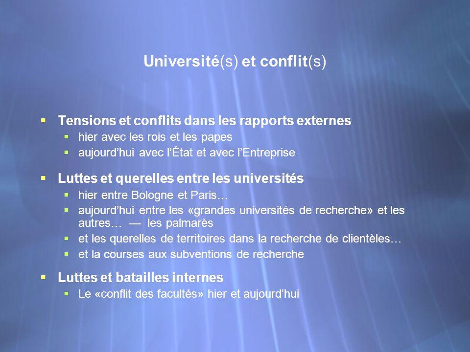 Université(s) et conflit(s) Tensions et conflits dans les rapports externes hier avec les rois et les papes aujourdhui avec lÉtat et avec lEntreprise