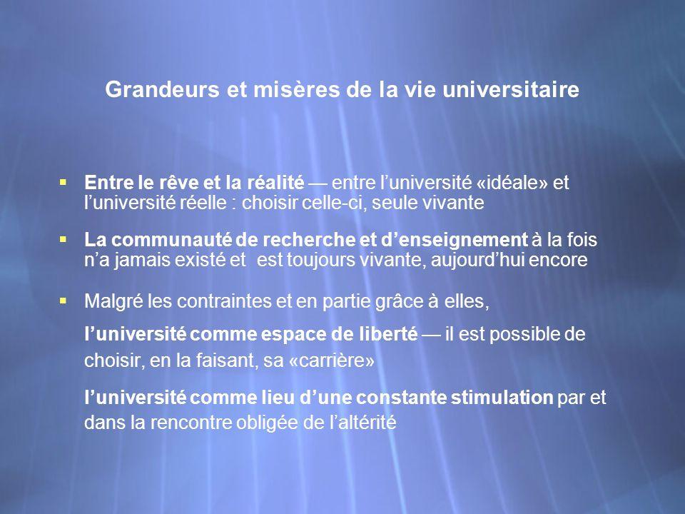 Grandeurs et misères de la vie universitaire Entre le rêve et la réalité entre luniversité «idéale» et luniversité réelle : choisir celle-ci, seule vi