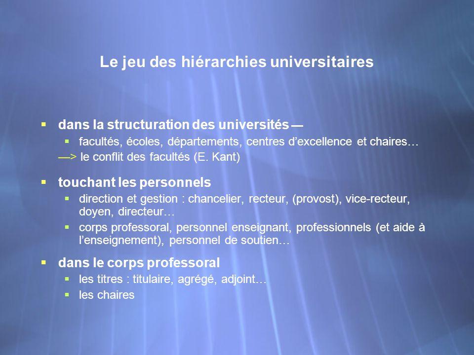 Le jeu des hiérarchies universitaires dans la structuration des universités facultés, écoles, départements, centres dexcellence et chaires… > le confl