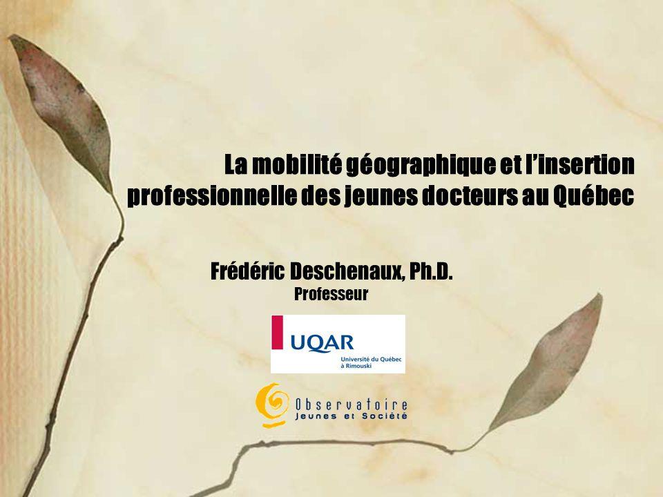 La mobilité géographique et linsertion professionnelle des jeunes docteurs au Québec Frédéric Deschenaux, Ph.D.