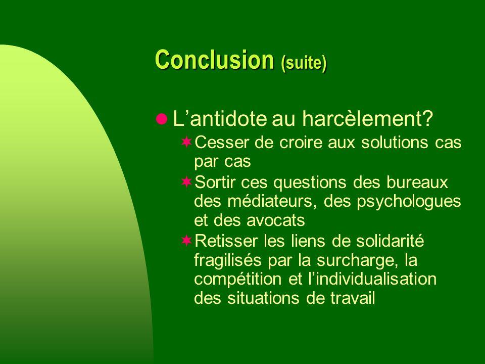 Conclusion (suite) Lantidote au harcèlement.