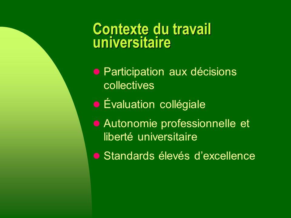Contexte du travail universitaire Participation aux décisions collectives Évaluation collégiale Autonomie professionnelle et liberté universitaire Standards élevés dexcellence
