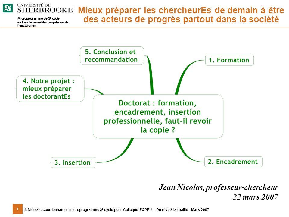 1 J. Nicolas, coordonnateur microprogramme 3 e cycle pour Colloque FQPPU – Du rêve à la réalité - Mars 2007 Jean Nicolas, professeur-chercheur 22 mars