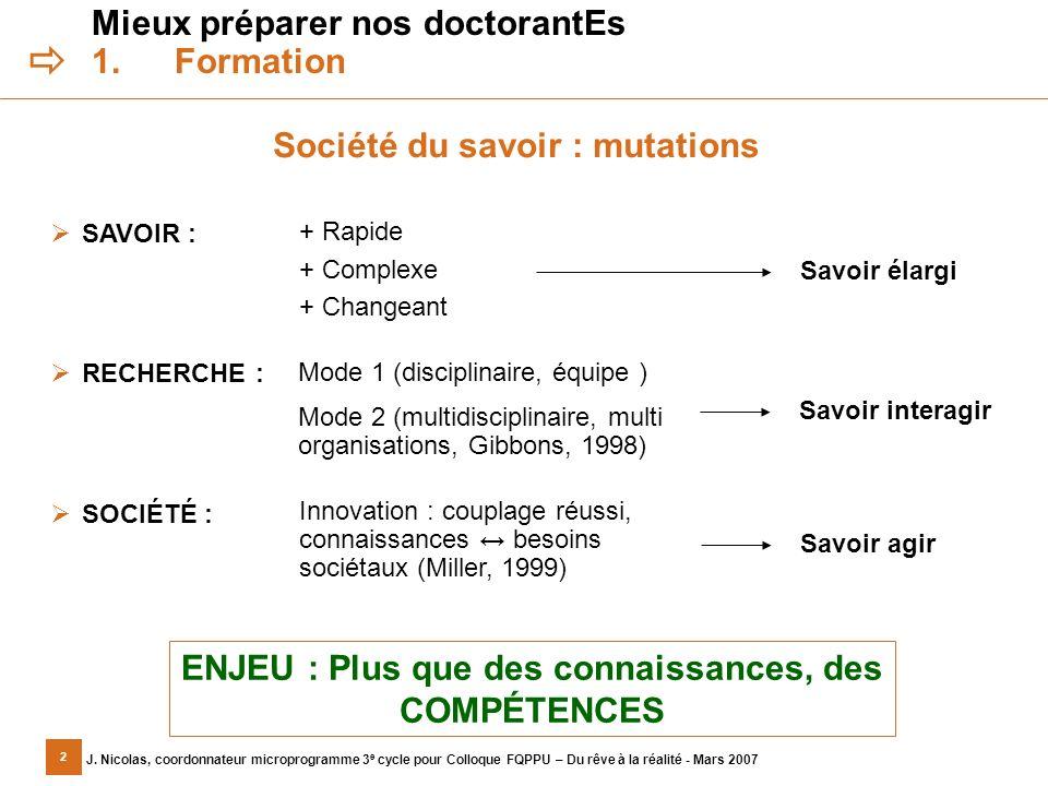 2 J. Nicolas, coordonnateur microprogramme 3 e cycle pour Colloque FQPPU – Du rêve à la réalité - Mars 2007 Mieux préparer nos doctorantEs 1.Formation
