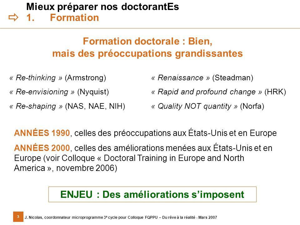 3 J. Nicolas, coordonnateur microprogramme 3 e cycle pour Colloque FQPPU – Du rêve à la réalité - Mars 2007 Mieux préparer nos doctorantEs 1.Formation