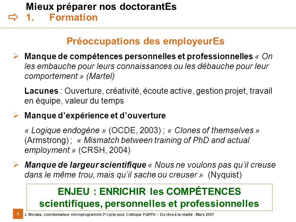 5 J. Nicolas, coordonnateur microprogramme 3 e cycle pour Colloque FQPPU – Du rêve à la réalité - Mars 2007 Mieux préparer nos doctorantEs 1.Formation