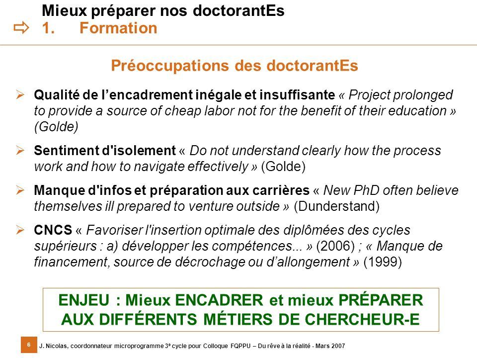 6 J. Nicolas, coordonnateur microprogramme 3 e cycle pour Colloque FQPPU – Du rêve à la réalité - Mars 2007 Mieux préparer nos doctorantEs 1.Formation