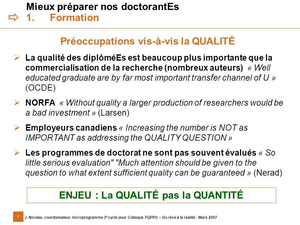 7 J. Nicolas, coordonnateur microprogramme 3 e cycle pour Colloque FQPPU – Du rêve à la réalité - Mars 2007 Mieux préparer nos doctorantEs 1.Formation