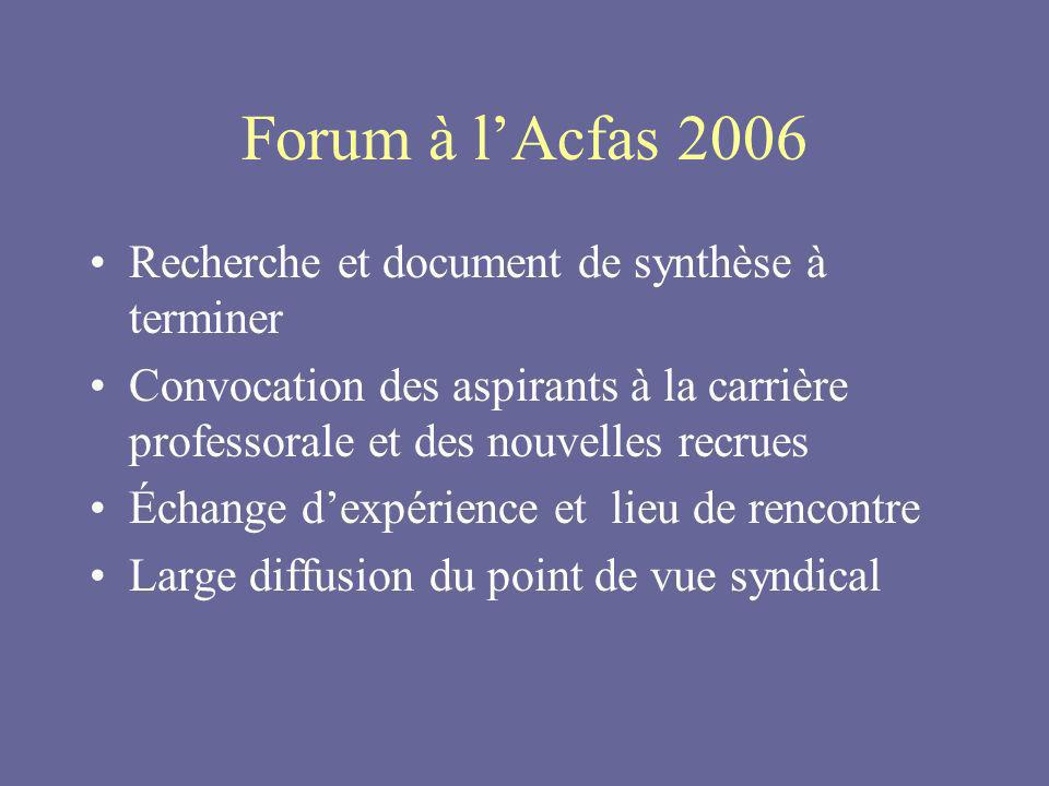 Forum à lAcfas 2006 Recherche et document de synthèse à terminer Convocation des aspirants à la carrière professorale et des nouvelles recrues Échange dexpérience et lieu de rencontre Large diffusion du point de vue syndical