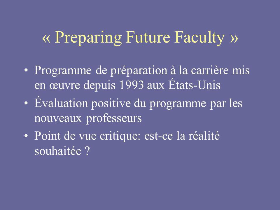 « Preparing Future Faculty » Programme de préparation à la carrière mis en œuvre depuis 1993 aux États-Unis Évaluation positive du programme par les nouveaux professeurs Point de vue critique: est-ce la réalité souhaitée