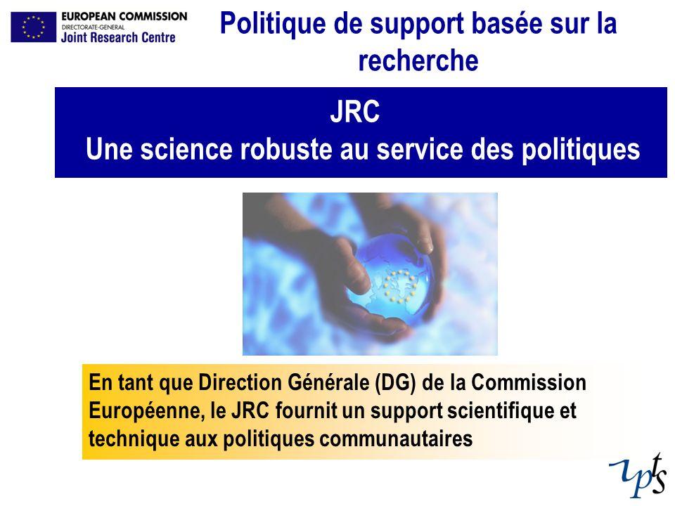 JRC Une science robuste au service des politiques Politique de support basée sur la recherche En tant que Direction Générale (DG) de la Commission Eur