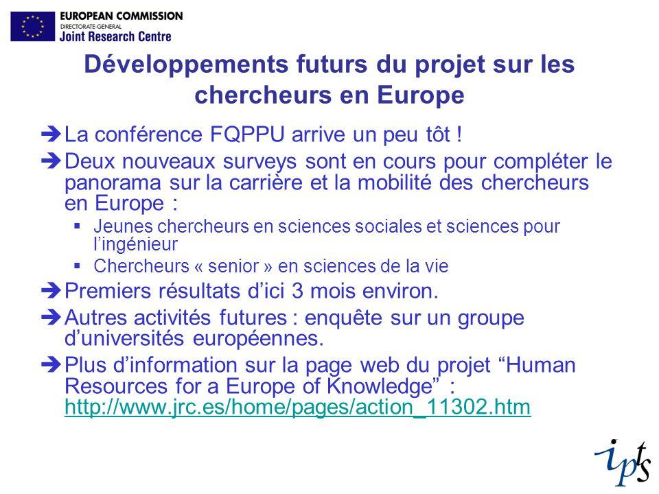 Développements futurs du projet sur les chercheurs en Europe La conférence FQPPU arrive un peu tôt ! Deux nouveaux surveys sont en cours pour compléte