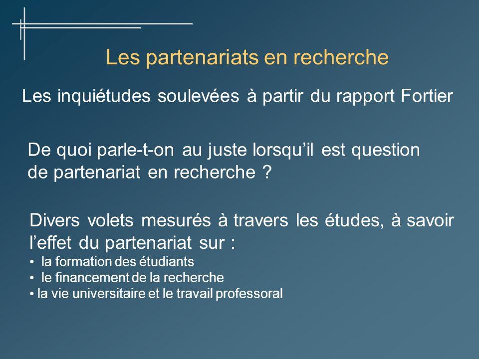 Les partenariats en recherche Les inquiétudes soulevées à partir du rapport Fortier De quoi parle-t-on au juste lorsquil est question de partenariat en recherche .