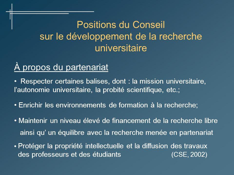 Positions du Conseil sur le développement de la recherche universitaire À propos du partenariat Respecter certaines balises, dont : la mission univers