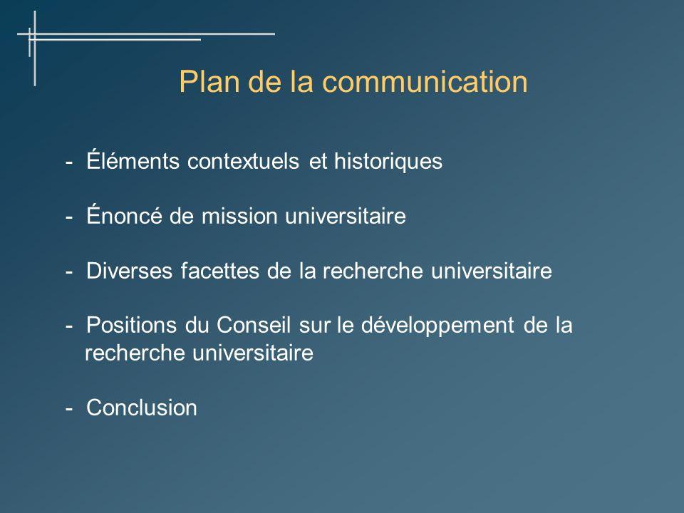 Plan de la communication - Éléments contextuels et historiques - Énoncé de mission universitaire - Diverses facettes de la recherche universitaire - Positions du Conseil sur le développement de la recherche universitaire - Conclusion
