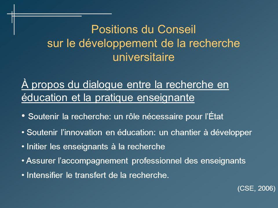 Positions du Conseil sur le développement de la recherche universitaire À propos du dialogue entre la recherche en éducation et la pratique enseignant