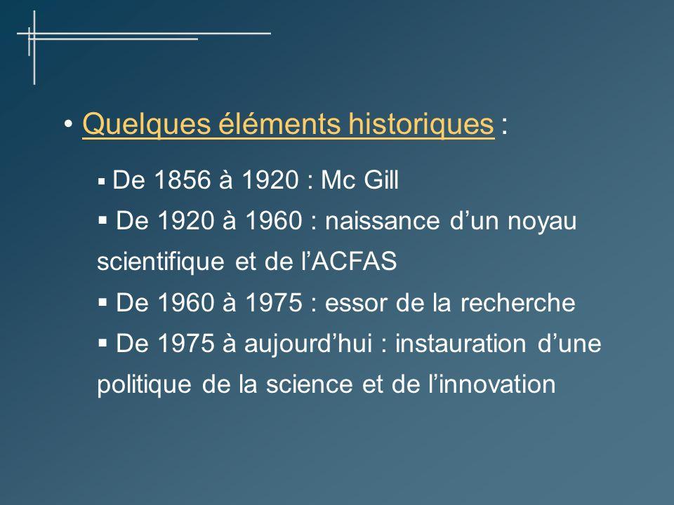 Quelques éléments historiques : De 1856 à 1920 : Mc Gill De 1920 à 1960 : naissance dun noyau scientifique et de lACFAS De 1960 à 1975 : essor de la recherche De 1975 à aujourdhui : instauration dune politique de la science et de linnovation