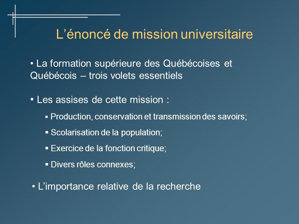 La formation supérieure des Québécoises et Québécois – trois volets essentiels Lénoncé de mission universitaire Les assises de cette mission : Product