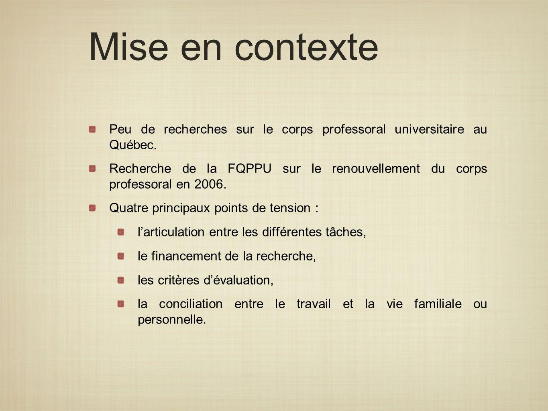 Mise en contexte Peu de recherches sur le corps professoral universitaire au Québec. Recherche de la FQPPU sur le renouvellement du corps professoral