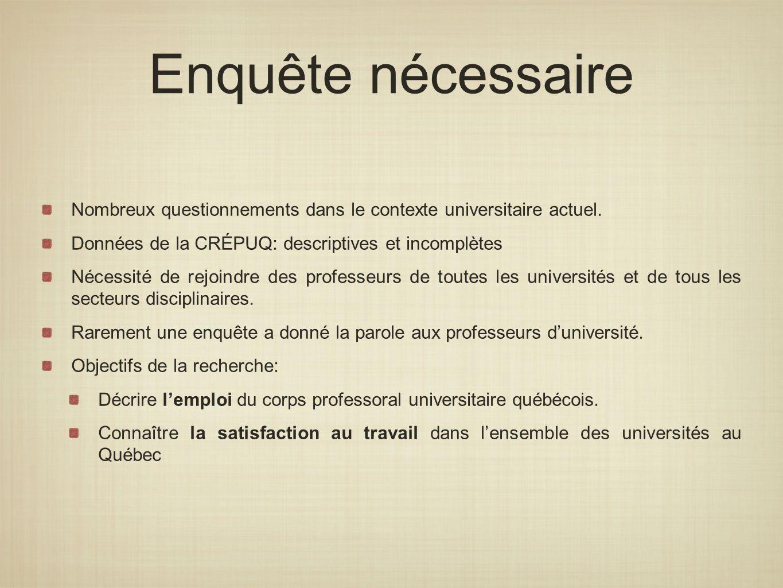 Enquête nécessaire Nombreux questionnements dans le contexte universitaire actuel. Données de la CRÉPUQ: descriptives et incomplètes Nécessité de rejo