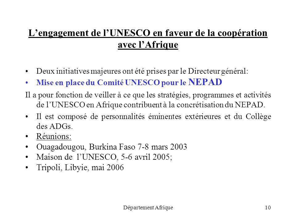 Département Afrique10 Lengagement de lUNESCO en faveur de la coopération avec lAfrique Deux initiatives majeures ont été prises par le Directeur génér