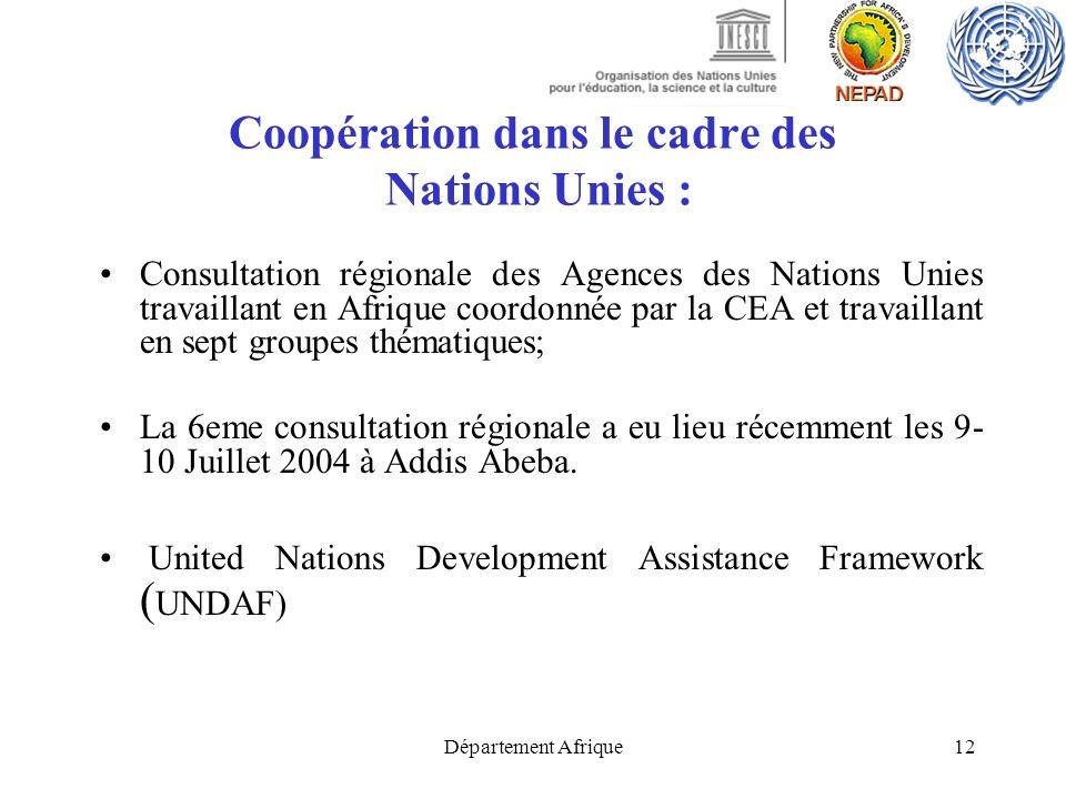 Département Afrique12 Coopération dans le cadre des Nations Unies : Consultation régionale des Agences des Nations Unies travaillant en Afrique coordo