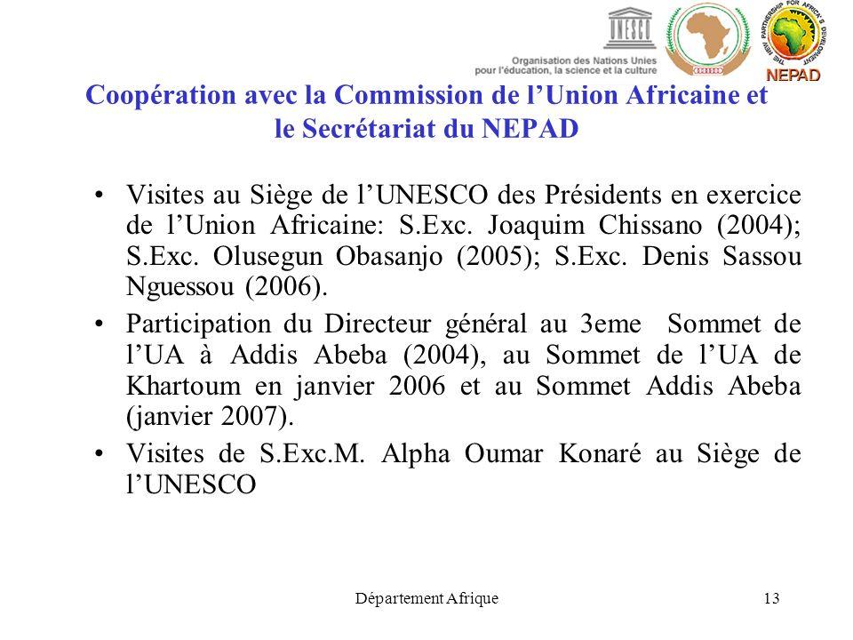 Département Afrique13 Coopération avec la Commission de lUnion Africaine et le Secrétariat du NEPAD Visites au Siège de lUNESCO des Présidents en exer
