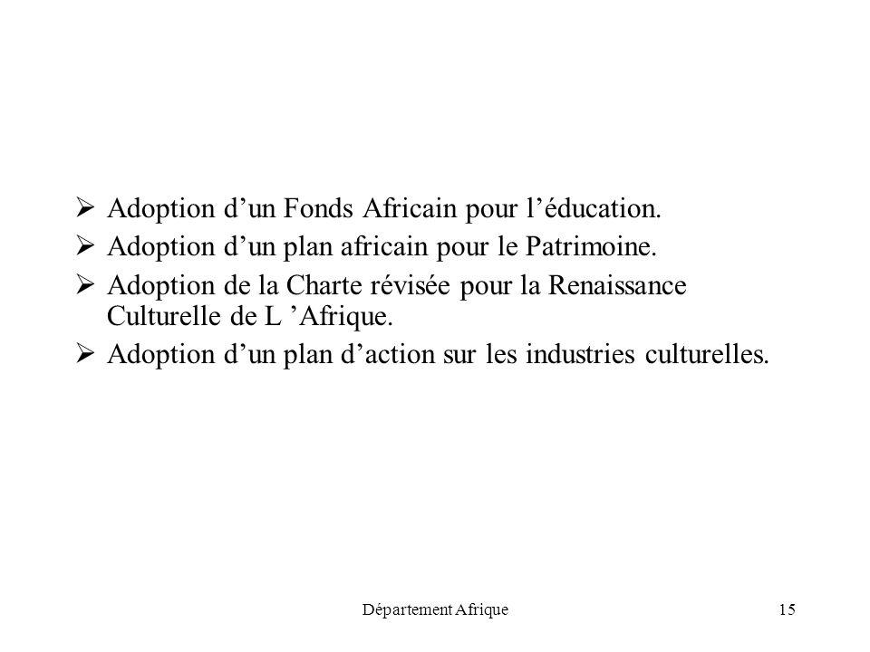 Département Afrique15 Adoption dun Fonds Africain pour léducation. Adoption dun plan africain pour le Patrimoine. Adoption de la Charte révisée pour l