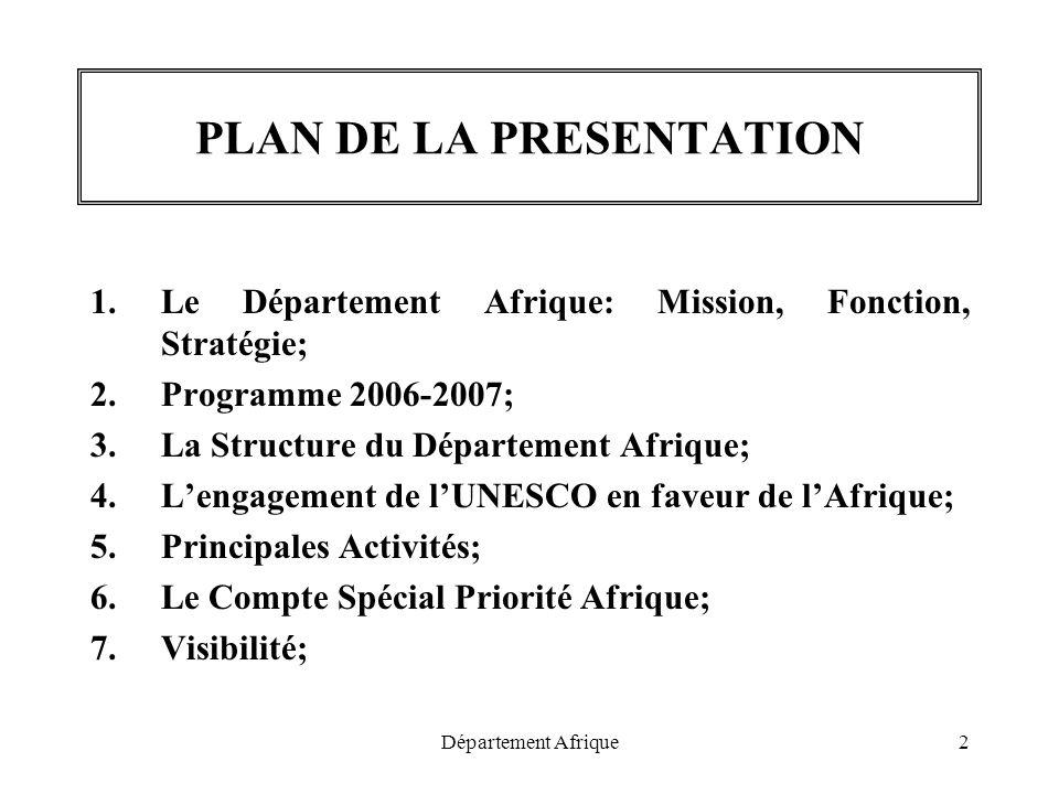 Département Afrique2 PLAN DE LA PRESENTATION 1.Le Département Afrique: Mission, Fonction, Stratégie; 2.Programme 2006-2007; 3.La Structure du Départem